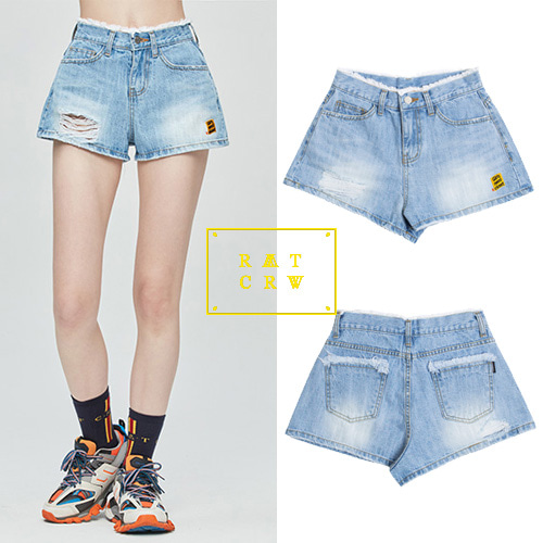 [ROMANTICCROWN WOMAN] GNAC DENIM SHORT BLUE