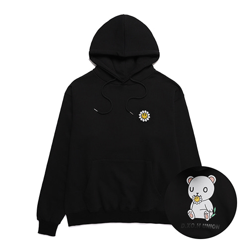 [DXOHxUNION] FLOWER BEAR HOODY BLACK