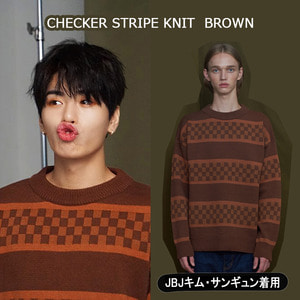 [UNALLOYED]CHECKER STRIPE KNIT  BROWN