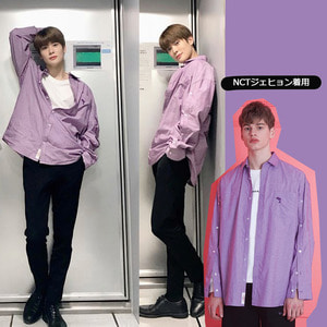 [WAIKEI]WAIKEI OPEN SLEEVE SRIPE SHIRT PURPLE