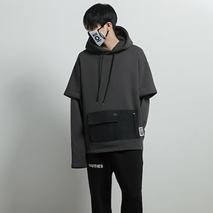 [JUSTO] LAYERED POCKET HOODIE DARKGRAY