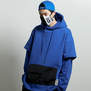 [JUSTO] LAYERED POCKET HOODIE BLUE