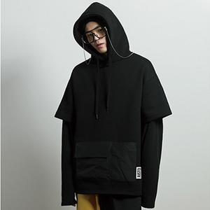 [JUSTO] LAYERED POCKET HOODIE BLACK