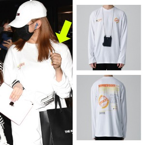 [GRAY HUE]LONG SLEEVE GLOBE TS WHITE_IZONE