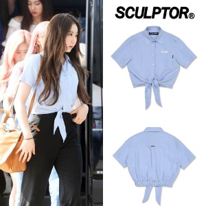 [SCULPTOR] SELF-TIE LINEN SHIRT SKY BLUE_IZONE