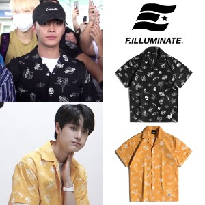 [FILLUMINATE] UNISEX SPACE LOGO OPEN COLLAR SHIRT 2COLOR_NCT_PRODUCEX101