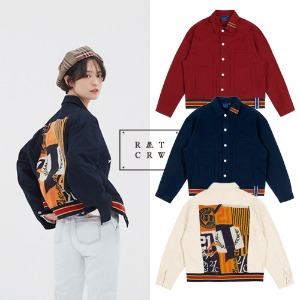 [ROMANTICCROWN] JACQUARD TRUCKER JACKET 3COLOR