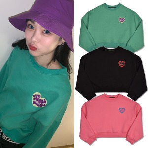 [HIGHSCHOOLDISCO] HEART CROP SWEATSHIRT 3COLOR