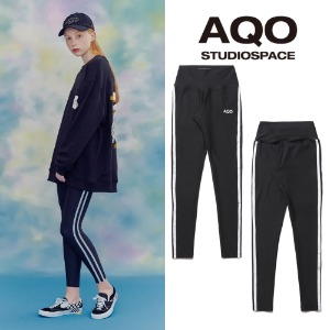 [AQOSTUDIO]AQO LINE TAPE LEGGINGS BLACK