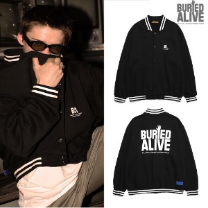 [BURIEDALIVE] BA CLASSIC LOGO COTTON STADIUM JACKET BLACK