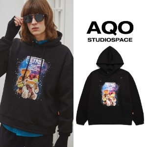 [AQOSTUDIO] AQOXTETRIS SPACE TEDDY HOODIE BLACK