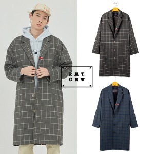 [ROMANTICCROWN] FRIDAY THREE BUTTON CHECK COAT 2COLOR