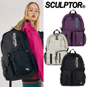 [SCULPTOR] DOUBLE POUCH NYLON BACKPACK 3COLOR