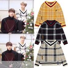 [ROMANTICCROWN] CHECK V NECK KNIT 3COLOR_SEVENTEEN