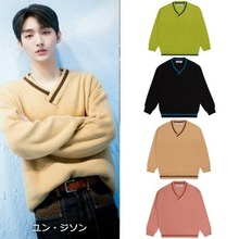 [BLOND9]Basic V Neck Knit Sweater 4COLORS_WANNAONE,B1A4