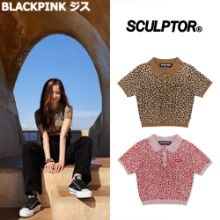 [SCULPTOR] LEOPARD POLO KNIT TOP 2COLOR_BLACKPINK_HEIZE