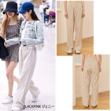 [TMO BY 13MONTH] STRIPE WIDE COTTON PANTS_BLACKPINK
