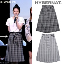 [HYBERNAT] TIED LONG SKIRT MONO CHECK 2COLOR_OH MY GIRL