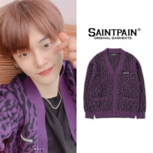 [SAINTPAIN] SP HEWORTH LEOPARD CARDIGAN PURPLE_TXT