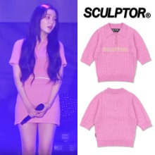 [SCULPTOR] GLITTER SMALL CABLE SWEATER_REDVELVET