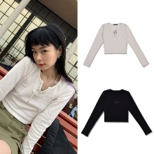 [HIGHSCHOOLDISCO] EYELET LONG SLEEVE CROP 2COLOR