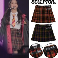 [SCULPTOR] CHECK PLEATED BUCKLE SKIRT 2COLOR_BLACKPINK