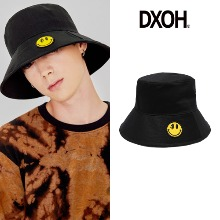 [DXOH] YELLOW SMILE BUCKET HAT BLACK